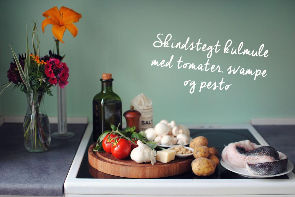 Opskrift: Stegt kulmule med tomater, svampe og pesto | Frk. Kræsen