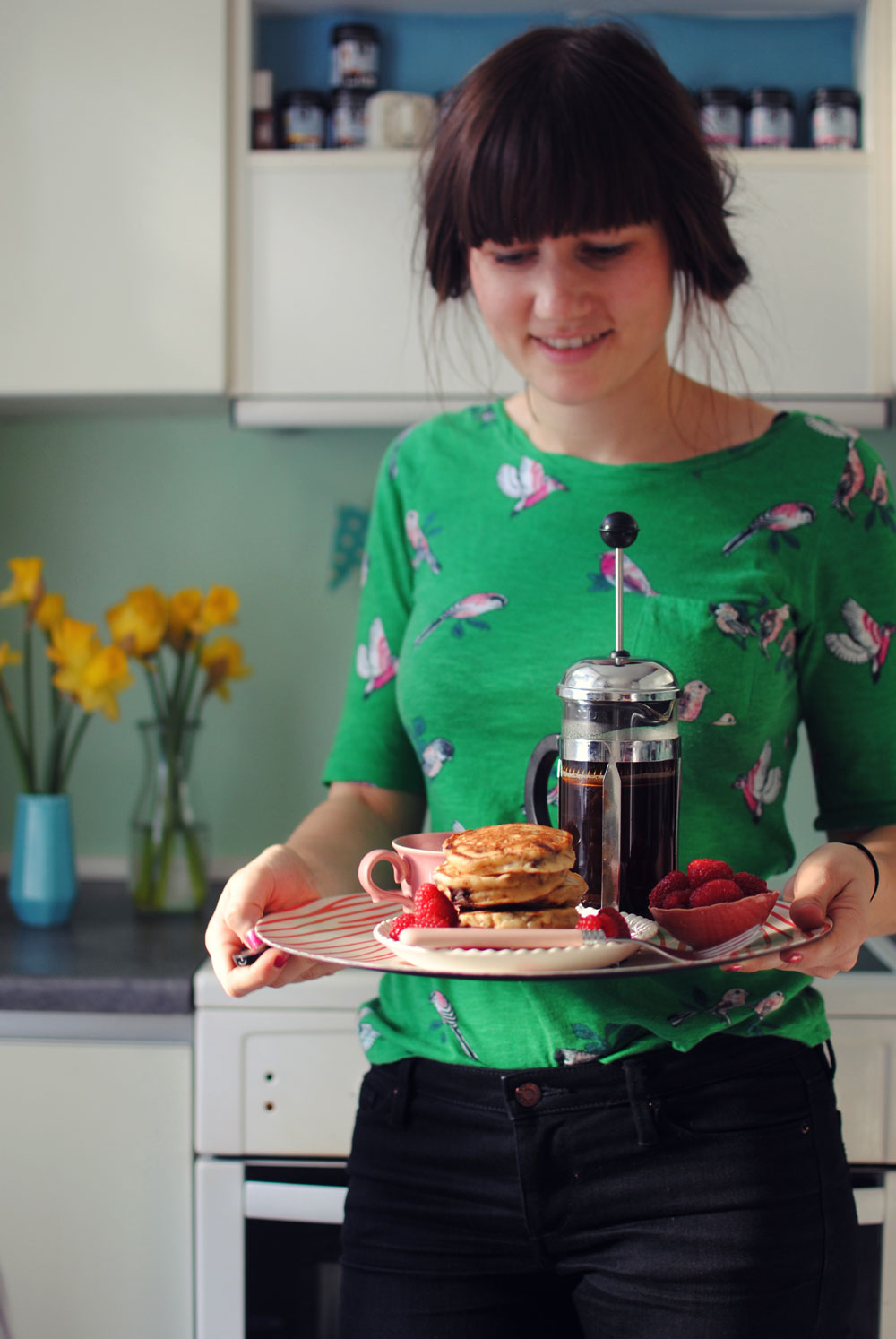 Opskrift: American pancakes med chokolade og banan | Frk. Kræsen