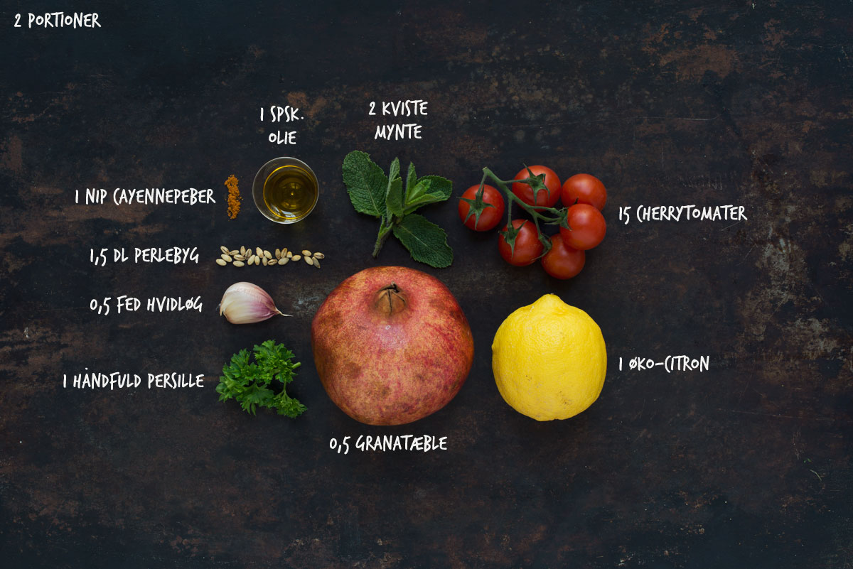 Opskrift: Salat med perlebyg og granatæble
