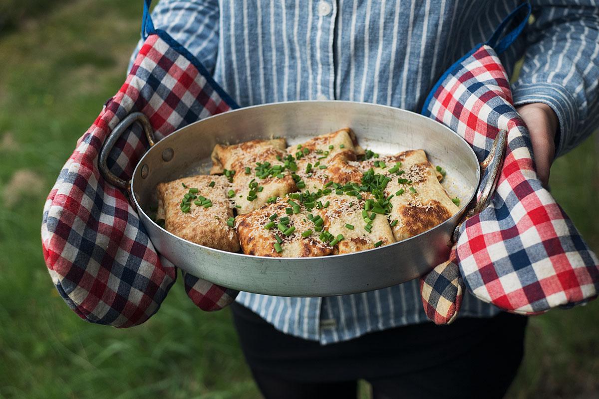 Opskrift: Fyldte pandekager med champignoner | Frk. Kræsen