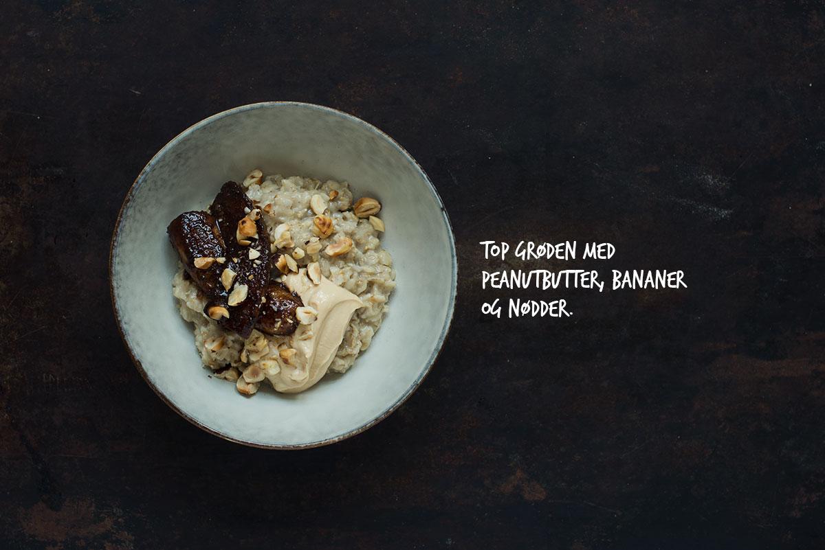 Opskrift: Havregrød med banan og peanutbutter | Frk. Kræsen