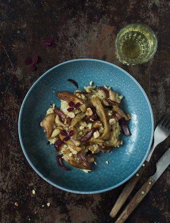 Opskrift: Risotto med østershatte og karamellisered rødløg | Frk. Kræsen