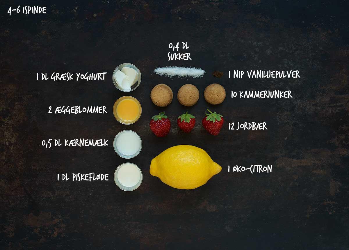 Opskrift: Koldskål-ispinde med jordbær og kammerjunker | Frk. Kræsen
